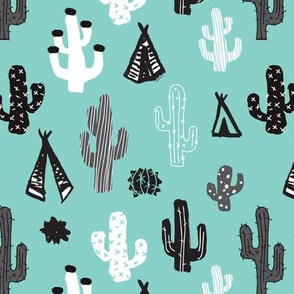 Blue black and white cactus and teepee botanical summer garden and indian arrow geometric grunge illustration pattern print