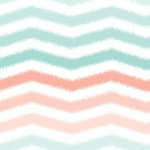 Mint and Coral Scribble Stripes