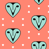 Heart owl droplets - mint on coral