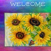 Garden Sunflower Banner - Rainbow Background
