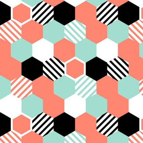 Coral Mint Black White Hexagons