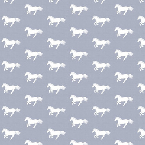White Pony on Silver Grey Rustic Linen