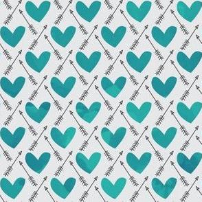 Blue Watercolor Hearts + Cupid's Arrow
