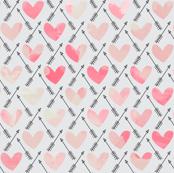 Pink Watercolor Hearts + Cupid's Arrow
