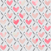 Pink Watercolor Hearts + Cupid's Arrow - Large Scale