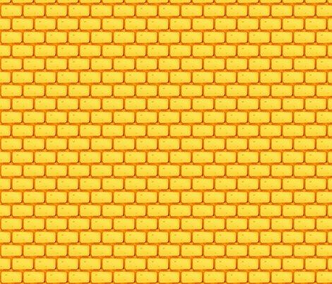 FOLLOW THE YELLOW BRICK ROAD GOLD Fabric
