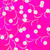 Folk Floral in Hot Pink