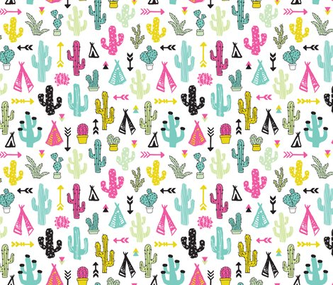 Colorful cactus and teepee botanical summer garden and