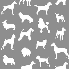 Mod-Dog Silhouettes White on Gray Small Scale