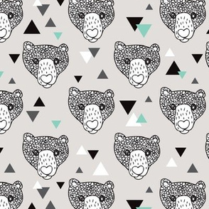 Colorful grizzly bear scandinavian spring woodland hand dran illustration pattern in gender neutral gray