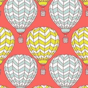 hot air balloons on coral