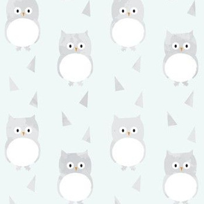 Owl Babies Winter Feathers - Blue - Large Scale