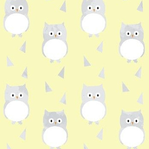 Owl Babies Winter Feathers - Yellow