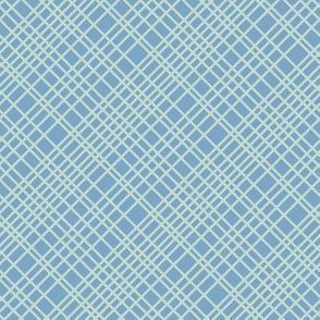 blue soft mint diagonal grid