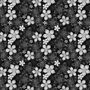 Tropic Floral Black and White