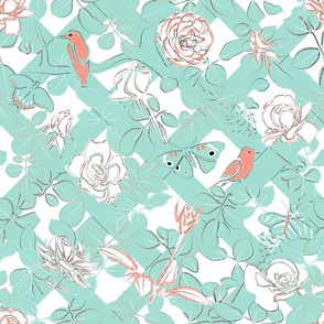 Rose Garden Mint and Coral