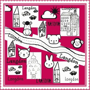 City Scapes Quilt  - Hot Pink personalized