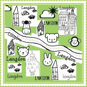 City Scapes Quilt  - Kiwi - personalized