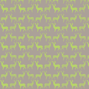 Lime Deer on Gray Meadow Deer on Gray
