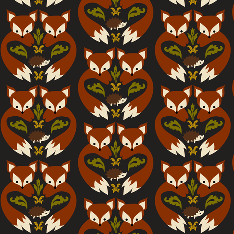 Fox print black boredinc spoonflower for Fox print fabric