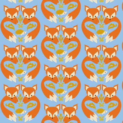 Fox print light blue fabric boredinc spoonflower for Fox print fabric