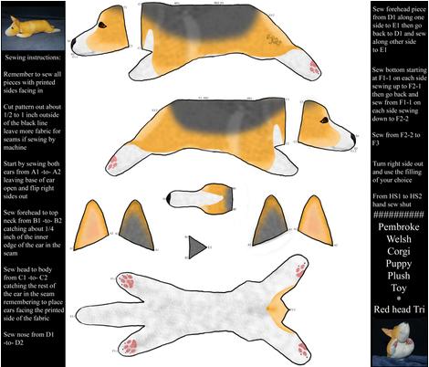 Cut and sew plush Pembroke Welsh Corgi puppy - red head tri