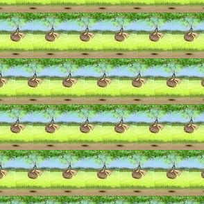 bunny in the basket swinging small