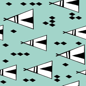 TeePee (Railroad Version) - Pale Turquoise by Andrea Lauren