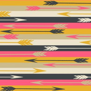 Arrow Stripes (RR) - Midnight Blue/French Rose/Saffron/Cream