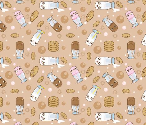 kawaii milk and cookies fabric kawaiistitches spoonflower. Black Bedroom Furniture Sets. Home Design Ideas