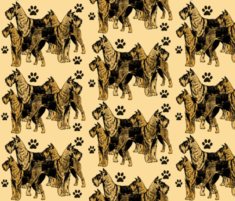 Airdale Terriers on Yellow Background