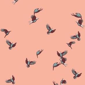 flock of birds in peach