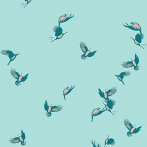 flock of birds in blue