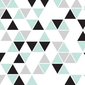 white background mint, black gray triangles