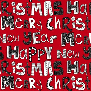 red simple merry christmas happy new year