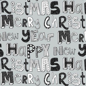 silver simple merry christmas happy new year