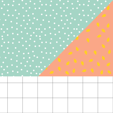 peach with mint polka dot and grid
