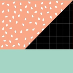 peach white mint black grid thin lines