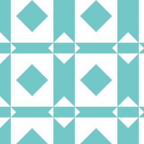Aqua and White Quilt Blocks