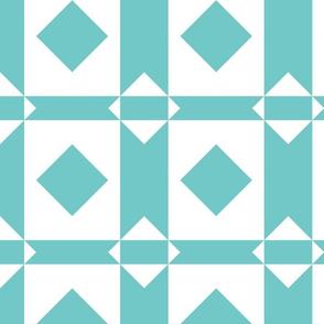Aqua and White Quilt Blocks