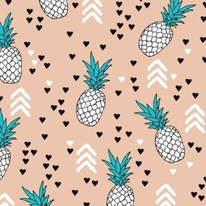geometric summer pineapple ananas illustration with arrows and hearts gender neutral scandinavian style design in tropical fruit theme