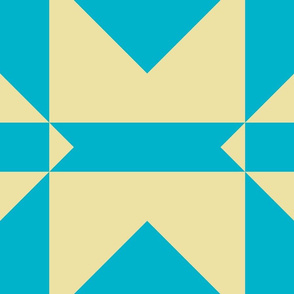 Scuba Blue and Custard Yellow Quilt Blocks