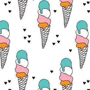 Colorful vintage summer popsicle ice cream sweet candy sugar illustration for girls