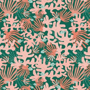 Coral And Fish On Green