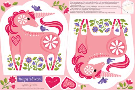 Happy Unicorn Pillow Pink and Purple