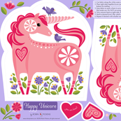 Happy Unicorn Pillow Pink and Purple