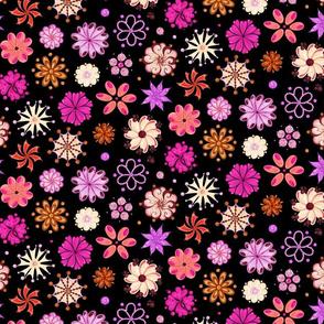 Ornate Pink Flowers- Large- Black Background