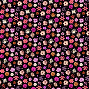 Ornate Pink Flowers- Small- Black Background