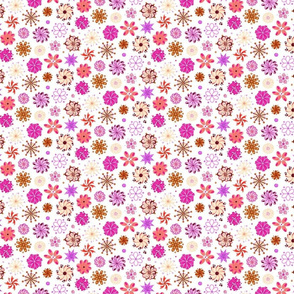 Ornate Pink Flowers- Small- White Background