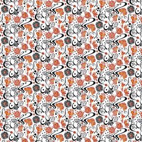 Swirly Black Hearts- Orange Flowers- Small- White Background